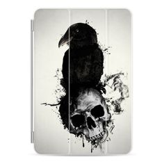 Raven and Skull - iPad Cover / Case ($50) ❤ liked on Polyvore featuring accessories, tech accessories, ipad cover / case, ipad cover case, apple ipad case, apple ipad cover case, ipad sleeve case and ipad cases