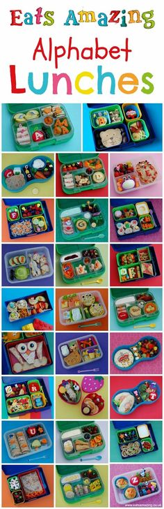 My Food Alphabet - Themed Bento Lunches Healthy Food for Children - Complete set of Alphabet Themed Bento School Lunch Ideas from Eats Amazing UK - Learn while you eat! Lunch Box Bento, Lunch Snacks, Bento Food, Bento Box Lunch For Kids, Lunch Boxes, Packed Lunch Ideas For Kids, Healthy Meals For Kids, Kids Meals, Healthy Snacks