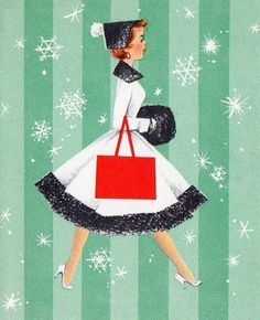 Vintage Christmas Card - Girl in white coat with black trim... with a bold red purse in profile...