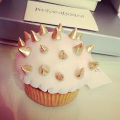 Pink cupcake with chocolate studs