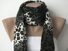 Pashmina Scarf  Leopard Scarf  Grey Black and White by cocoshwoman, $22.00