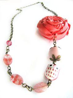 Owl necklace - Flower necklace - Pink, coral - Vintage style - Pink quartz, fabric rosette, porcelain owl, vintage beads. $25.00, via Etsy.