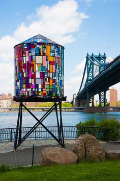 Brooklyn-based artist Tom Fruin installed a beautiful steel and plexiglas water tower in Brooklyn's DUMBO neighborhood. As sunlight streamed...