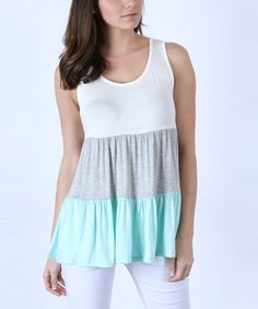 Loving this Heather Gray & Mint Ruffle Tank on #zulily! #zulilyfinds $17