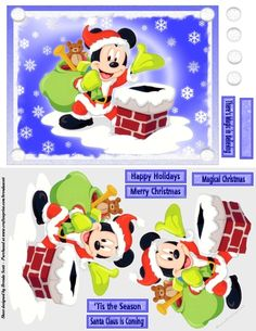 - card Topper with Decoupage and 6 Sentiments plus a blank Merry Christmas Card, Magical Christmas, Christmas Paper, Disney Christmas, Christmas Images, 3d Cards, Xmas Cards, Images 3d, Mikey Mouse