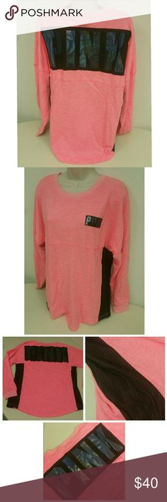 NEW VS Varsity Crew New in package Victoria's secret PINK varsity crew neck pull over sweater With mesh sides Reflective iridescent lettering Size medium  PRICE IS FIRM! Victoria's Secret Sweaters Crew & Scoop Necks