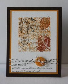 French Foliage CAS by kyann22 - Cards and Paper Crafts at Splitcoaststampers. Used an inked up clear block for background. Colors are Early Espresso, Cajun Craze, More Mustard, and Natural White.