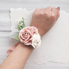 Items similar to Blush Flower wrist corsage, Blush bridesmaids corsage on Etsy Prom Flowers, Blush Flowers, Bridal Flowers, Bridesmaid Corsage, Corsage Wedding, Wedding Bouquets, Lilac Wedding, Boho Wedding, Corsage And Boutonniere