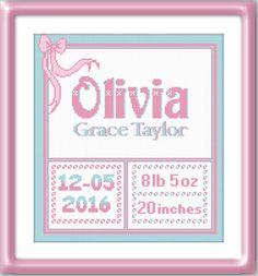 Cross stitch pattern personalized Birth announcement - Modern cross stitch…