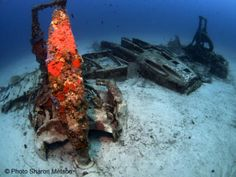 The Beaufighter now lies upside down on a sandy seabed at a depth of 38m.