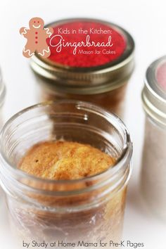 Gingerbread Mason Jar Cakes for preschool. Easy mini cakes kids can make. Perfect for gift giving!
