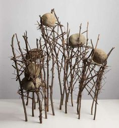 Ken Unsworth, Untitled I (Sticks and Stones) 1985 eucalypt branches, river stones and wire