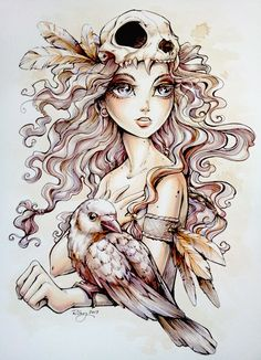 """Crow Child"" Illustration by Kellee Riley - very talented Art And Illustration, Illustrations, Fantasy Kunst, Fantasy Art, Fan Art, Manga Comics, Belle Photo, Cool Drawings, Pencil Drawings"