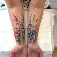Floral Tattoo by Alexey Platunov Tatoo Flowers, Pretty Flower Tattoos, Flower Wrist Tattoos, Realistic Flower Tattoo, Elbow Tattoos, Mini Tattoos, Body Art Tattoos, Sleeve Tattoos, Tatoos