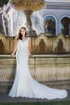 61ce31f781127 White Destiny - Selena Huan handmade V-check soft floral French lace mermaid  gown with