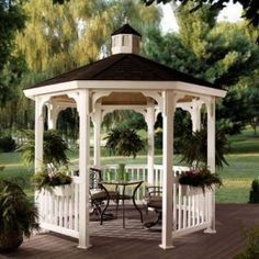 Want to build a gazebo on the farm as I had built one at a previous home. I still have the plans fro Sun Designs. Gazebo Plans, Backyard Gazebo, Pergola Swing, Gazebo Ideas, Pergola Kits, Outdoor Rooms, Outdoor Living, Garden Structures, Outdoor Structures