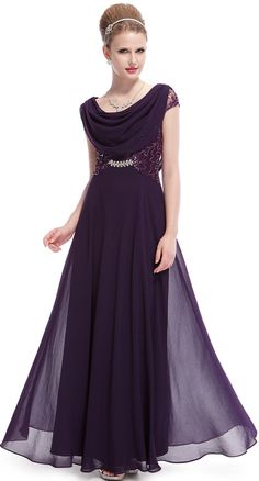 Ever Pretty Dámské elegantní plesové šaty fialové 9989 - 0 Flitre a0305c64932