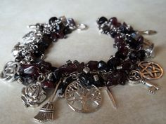 Beautiful Witch Charm Bracelet w/ Amethyst & Black by CellDara
