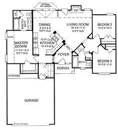 Ranch Floor Plan - Main Floor Plan Plan #952-170