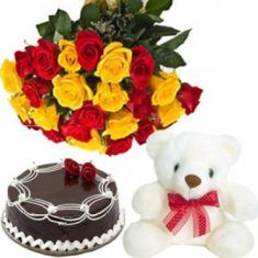 Sweet Rose and Teddy Combo Combo includes 15 rose bouquet of red and yellow roses, a t . Order Cakes Online, Cake Online, Send Flowers, Fresh Flowers, Online Bouquet, Red And Yellow Roses, Bouquet Delivery, Online Cake Delivery, Buy Gifts Online