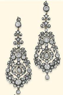 Marie Poutine's Jewels & Royals: Diamond Chandelier Earrings Diamond floral chandelier earrings.