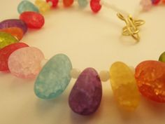 'Handmade Crackle Glass Rainbow Necklace' is going up for auction at 10am Wed, Apr 10 with a starting bid of $6.