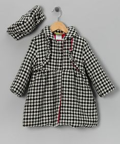 Take a look at this Black & White Diamond Coat & Hat - Infant, Toddler & Girls by Penelope Mack on #zulily today!