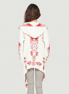 Back Detail: Johnny Was Biya Mojave Embroidered Hoodie Wrap in Cream and Red #aztec #southwest #geometric #embroidery #design