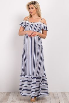 16b3d1501a Cream Alternating Striped Maxi Dress Maternity Maxi