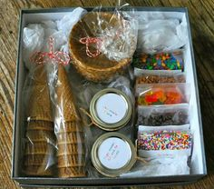 Make a box like this for a family. And let them know its for family night just add ice cream. Easy Christmas gift and covers the whole family.