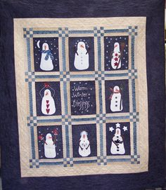 Snowman Gatherings Quilt Kit includes wool for appliqued snowmen! By Primitive Gatherings for Moda
