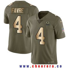 Men's Green Bay Packers #4 Brett Favre Olive with Gold 2017 Salute To Service Stitched NFL Nike Limited Jersey