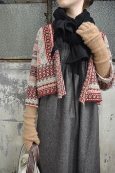kapital lagenlook, scandi folk style take on the autumn winter 2014 en trend fashion look for layered textural knits cosy quirky geek chic alice Looks Style, Style Me, Punto Fair Isle, Fair Isle Knitting, How To Purl Knit, Looks Vintage, Mode Inspiration, Mode Style, Refashion