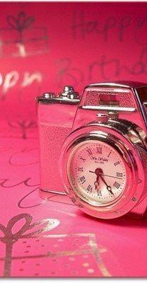 pink time camera.