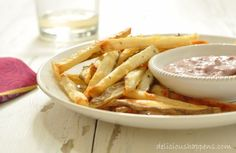 Oven Roasted French Fries with Kalamata Olive Aioli Dip