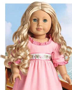 New American Girl Caroline Abbott Doll  1812 & her books.   Makes me nostalgic for my young, young niece who is now far away and all grown up and no longer plays with American girl dolls.