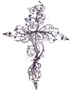 Cross tattoo design possibly smaller. on my ribs? my side? black or blue