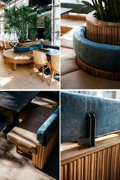 This modern restaurant features curved banquette seating that wraps around planters with tall plants, that are reflected in the mirror on the wall. Restaurant Furniture, Restaurant Interior Design, Modern Interior Design, Restaurant Interiors, Japanese Restaurant Design, Cafe Interiors, Contemporary Interior, Interior Architecture, Banquette Seating Restaurant