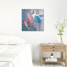 Looking for a modern decor for your pastel interior? This colorful painting with floral motive is perfect for your bedroom or living room! Acrylic pour background has lovely pink and neon red accents. White flower head was inspired by Rudbeckia. Bedroom Wall, Bedroom Decor, Wall Decor, Wall Art, Modern Gallery Wall, Gallery Walls, Tranquil Bedroom, Pastel Bedroom, Pastel Interior