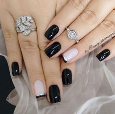58 Cute And Elegant Acrylic Black Nails Design Ideas For Short Nails - Page 57 of 59 - God Is A Girl! Square Nail Designs, Black Nail Designs, Nail Art Designs, Nails Design, Trendy Nail Art, Stylish Nails, Dark Nails, White Nails, Super Nails