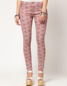 Skinny Jeans in Elephant Print