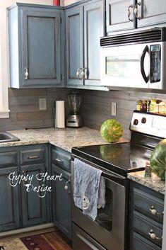 Wood Plank Backsplash U0026 Blue Distressed Cabinets   Kitchen