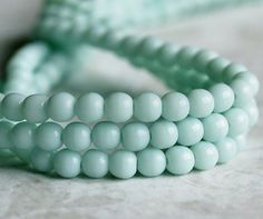 Pale Jade Green Czech Glass Bead 4mm Round Druk by BobbiThisnThat