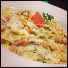Maybe this pasta will make the new menu at #pastapane - Farfalle ceci e salmone - Bow tie pasta, chick peas, smoked salmon, light grappa cream sauce