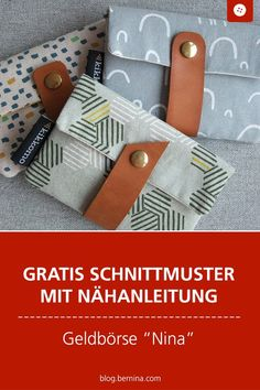 "Instructions small wallet ""Nina""- Anleitung kleines Portemonnaie ""Nina"" Free sewing pattern with sewing instructions: Sew purse & wallet ""Nina"" - Sewing Patterns Free, Free Sewing, Sewing Tutorials, Free Pattern, Knitting Patterns, Sewing Projects, Diy Wallet Sewing Pattern, Sewing Hacks, Bag Sewing"