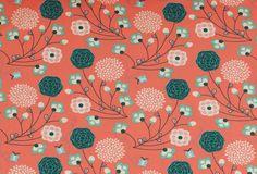 Stoff Blumen - 928 Jersey Blumen Coralle Cremeweiß Mint - ein Designerstück von pretty-child bei DaWanda