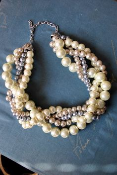 Chunky Pearl Twisted Statement by SarahWhiteJewelry on Etsy, $48.00