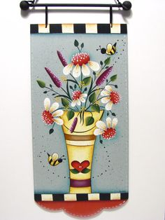 Floral Bouquet Banner with Daisies and Bees, Handpainted Sign, Home Decor, Wall Art. $19,95, via Etsy.