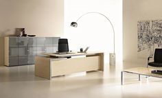 Executive desk with drawers EOS Office Table Design, Home Office Design, House Design, Eos, Condo, Executive Room, Home Goods Decor, Home Decor, Medical Office Design
