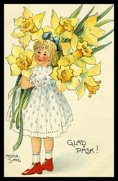 Vintagepaper1000 - ARTIST SIGNED POSTCARD : ADINA SAND, HAPPY EASTER, LOVELY GIRL WITH FLOWERS